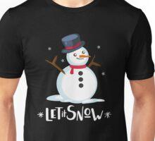 Cute Festive Merry Christmas Let It Snow Snowman  Unisex T-Shirt
