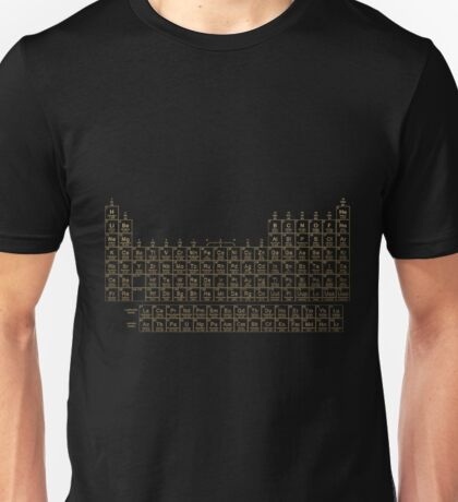 Periodic Table of Elements - Gold on Black  Unisex T-Shirt