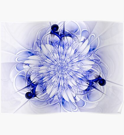 Abstract fractal flower  - computer-generated image Poster