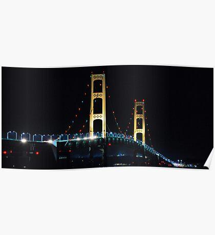 Mackinac Bridge in Lights Poster