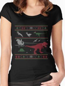 Dinosaur Xmas Sweater Women's Fitted Scoop T-Shirt