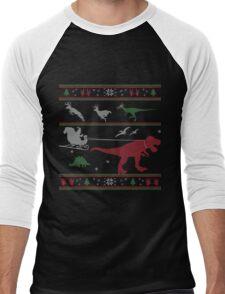 Dinosaur Xmas Sweater Men's Baseball ¾ T-Shirt