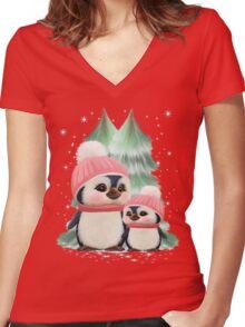 Cute Little Girl Penguins Women's Fitted V-Neck T-Shirt
