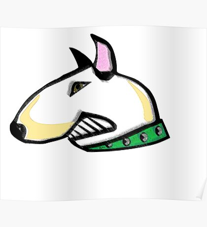 English Bull Terrier Head Poster