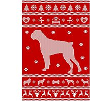 Boxer Monochrome Ugly Christmas Sweater Photographic Print