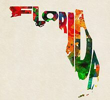 Florida Typographic Watercolor Map by A. TW