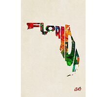 Florida Typographic Watercolor Map Photographic Print