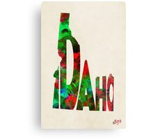 Idaho Typographic Watercolor Map Metal Print
