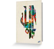 Illinois Typographic Watercolor Map Greeting Card