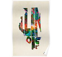 Illinois Typographic Watercolor Map Poster