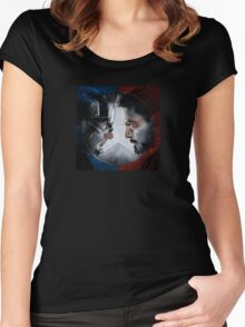 CAPTAIN AMERICA VS IRON MAN Women's Fitted Scoop T-Shirt