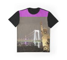 Statue of Liberty and Brooklyn Bridge Background at Night Graphic T-Shirt