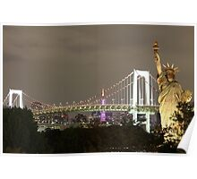 Statue of Liberty and Brooklyn Bridge Background at Night Poster