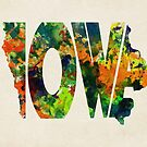 Iowa Typographic Watercolor Map by A. TW