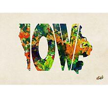 Iowa Typographic Watercolor Map Photographic Print
