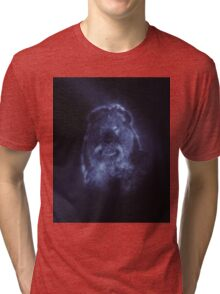 Lion Smoke Mostly Desaturated Dark Blue Tri-blend T-Shirt