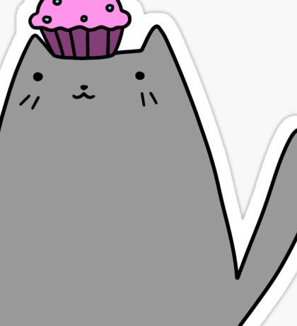 Cupcake Gray Kitty Sticker