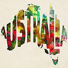 Australia Typographic Watercolor Map by Deniz Akerman