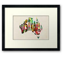 Australia Typographic Watercolor Map Framed Print