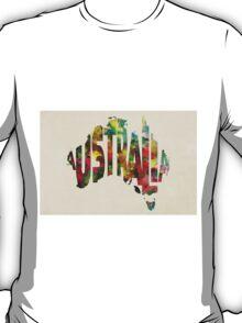 Australia Typographic Watercolor Map T-Shirt