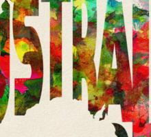 Australia Typographic Watercolor Map Sticker