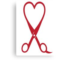 Awesome Heart and Shears Love T-Shirt for Hair Stylists Canvas Print