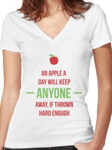An apple a day will keep anyone away Women's Fitted V-Neck T-Shirt