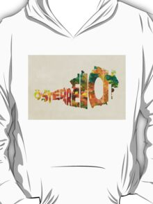 Austria Typographic Watercolor Map T-Shirt