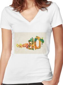 Austria Typographic Watercolor Map Women's Fitted V-Neck T-Shirt
