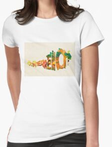 Austria Typographic Watercolor Map Womens Fitted T-Shirt