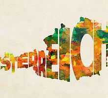 Austria Typographic Watercolor Map by A. TW