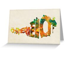 Austria Typographic Watercolor Map Greeting Card