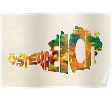Austria Typographic Watercolor Map Poster