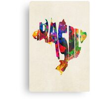 Brazil Typographic Watercolor Map Metal Print