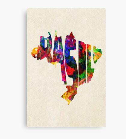 Brazil Typographic Watercolor Map Canvas Print