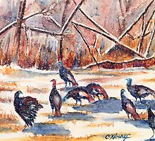 Snowing Wild Turkeys by Chris Kfoury