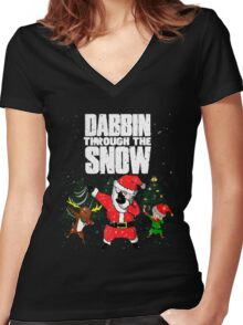 Christmas Dabbin Through The Snow Women's Fitted V-Neck T-Shirt