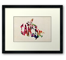 Canada Typographic Watercolor Map Framed Print