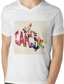 Canada Typographic Watercolor Map Mens V-Neck T-Shirt