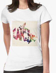 Canada Typographic Watercolor Map Womens Fitted T-Shirt