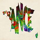 France Typographic Watercolor Map by Deniz Akerman
