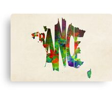France Typographic Watercolor Map Metal Print