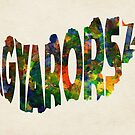 Hungary Typographic Watercolor Map by Deniz Akerman