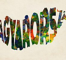 Hungary Typographic Watercolor Map by A. TW