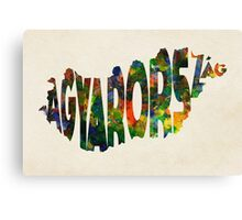 Hungary Typographic Watercolor Map Canvas Print