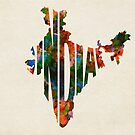 India Typographic Watercolor Map by Deniz Akerman