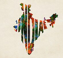 India Typographic Watercolor Map by A. TW