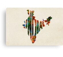 India Typographic Watercolor Map Canvas Print
