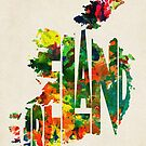 Ireland Typographic Watercolor Map by Deniz Akerman