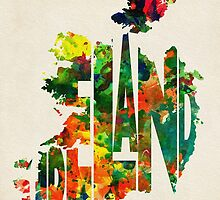 Ireland Typographic Watercolor Map by A. TW
